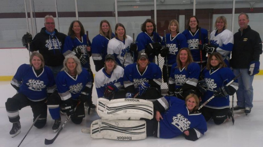 Upper School Chemistry teacher Beth Seibel-Hunt (top row, 5 from the right) poses with her Womens Hockey Association of Minnesota team