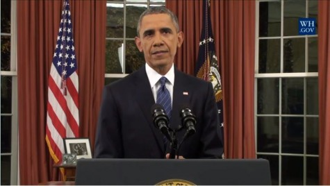 "President Barack Obama addresses the nation from the Oval Office  on Dec. 6 about the threat of ISIL. ""It's our responsibility to reject proposals that Muslim-Americans should somehow be treated differently,"" Obama said. ""That kind of divisiveness, that betrayal of our values plays into the hands of groups like ISIL."""