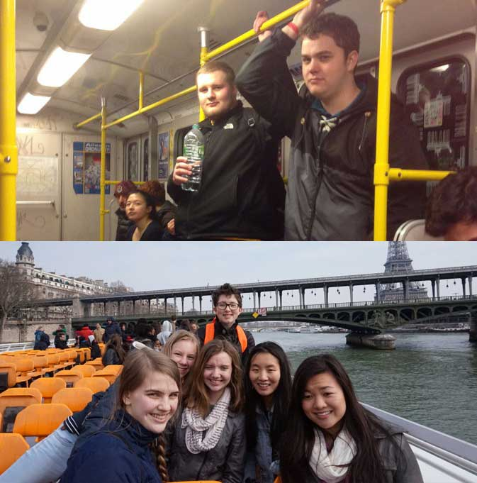 "Students on the German (top) and French (bottom)  exchange trips during spring of 2015. St. Paul Academy and Summit School's spring tourist trips to France and Germany have been cancelled due to instability in both countries relating to the Syrian Refugee Crisis and France recently declaring a state of emergency after the numerous attacks by ISIS. ""The trips are meant to be fun… I don't want terrorism to stop us from having this really good experience, however France declared a national state of emergency after the attacks… it just seems like asking for trouble,"" Upper School French teacher Sophie Kerman said."