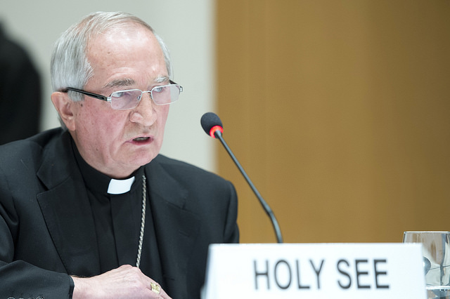 The Archbishop Silvano Tomasi at the UN Geneva Conference on Syria in 2014. Tomasi released the sexual abuse data at the Geneva conference on torture  that same year.