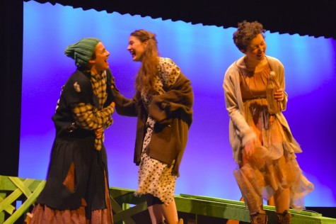 Sophomore Jonah Harrison, junior Mary Grant, and senior Tessa Rauch, respectively cackle as they play the three witches from the one-act