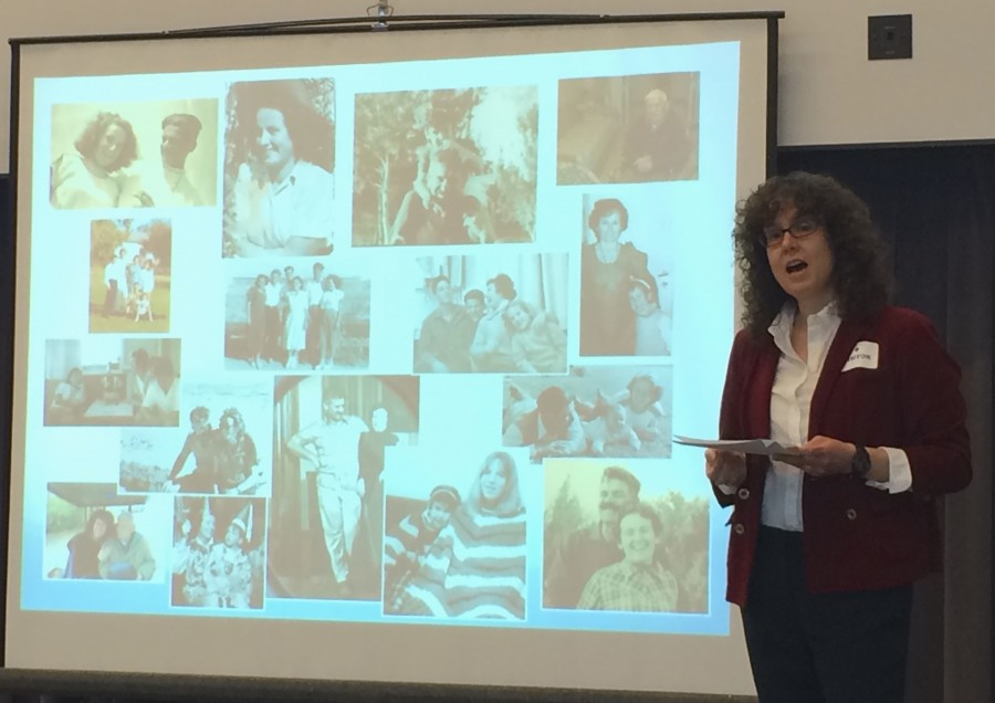 """Tzafrirs talk began with an introduction to her family. """"Growing up in the home of two holocaust survivors who went through the death camps and survived, meant for me a feeling of loss and sadness. It was something you could not escape,"""" Tzafrir said. This collage features different images of her family, including a picture of her mother in 1946, a picture of of her parents when they got married in 1949, a picture of Tzafrir and her sister in the 1970s, and a recent picture of her father."""