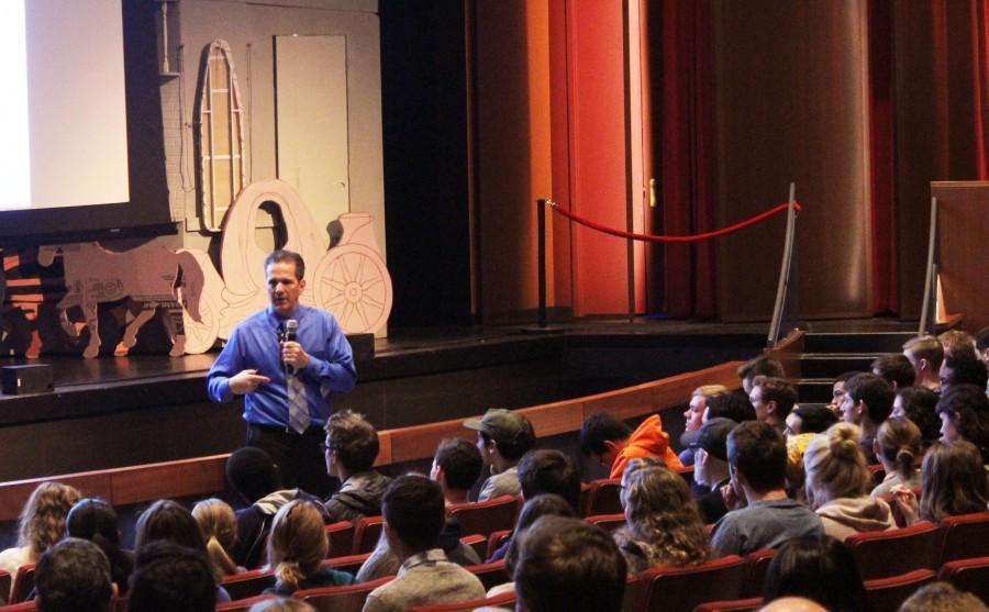 Psychologist Kevin Harrington speaks to students at St. Paul Academy and Summit School on Feb. 23 for Peer Helpers mental health week.