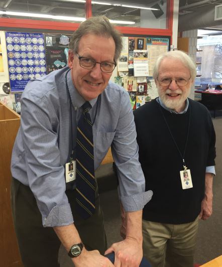 Upper School math teachers Jim McVeety (left) and Bill Boulger (right) have been in a book club together for a number of years