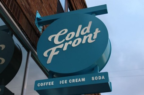 A recent addition to Cold Front includes this wonderfully blue sign prominently displaying the name.