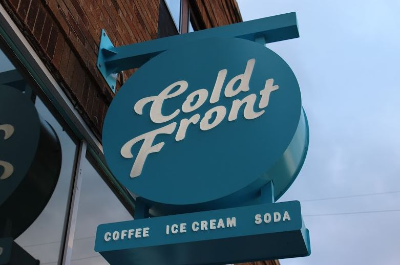 A+recent+addition+to+Cold+Front+includes+this+wonderfully+blue+sign+prominently+displaying+the+name.