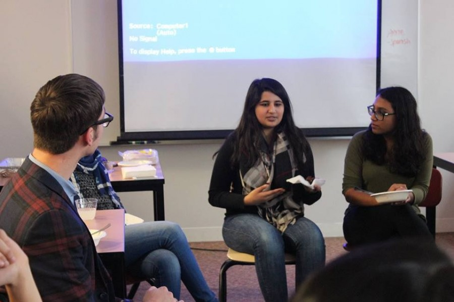 """MSA Co-President Tabeer Naqvi shares her experience being a Muslim student at SPA with junior Amodhya Samarakoon at the group's first meeting on March 3. """"My religion is such a big part of who I am and how I live my life because of the morals and values that come with it that I don't feel like I should have to walk into some school where I spend so much of my time and cut off that part of myself and not show it,"""" Naqvi said."""
