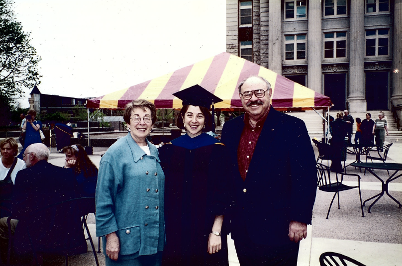 """Andrea Sachs receives her doctorate in  American Studies. """"[My studies] helped me polish my craft as a historian and also helped me polish my craft as a teacher,"""" Sachs said."""