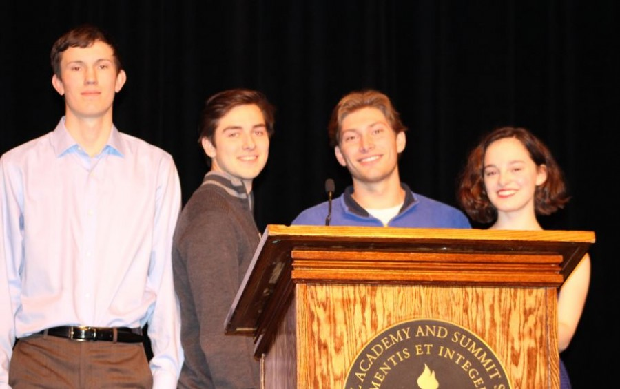 Seniors Jon Riley, Lukas Kelsey-Friedmann, Michael O'Shea, and Maggie Vliestra delivered their speeches on Feb. 19.