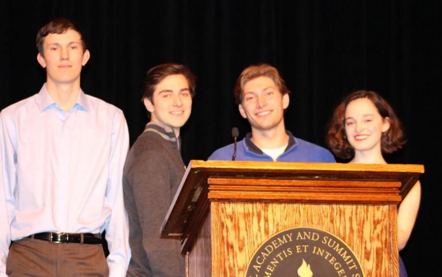 Seniors Jon Riley, Lukas Kelsey-Friedmann, Michael OShea, and Maggie Vliestra delivered their speeches on Feb. 19.