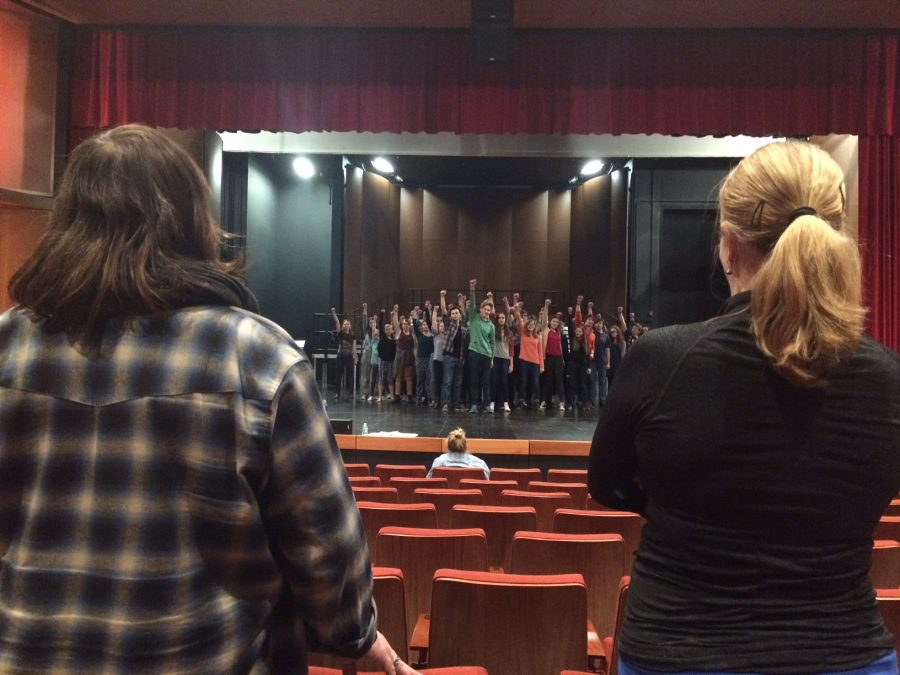 "Upper School Theater Director Eric Severson and choreographer Karis Sloss oversee Les Misérables rehearsals. ""Those big rehearsals are a challenge. But it's rewarding and it always pulls together in the end,"