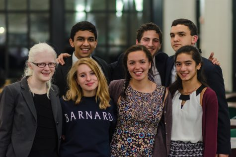 "FIVE DEBATERS will compete in the 2016 USA World Schools Debate Invitational. Juniors Sarah Wheaton (far left), Shefali Bijwadia (far right), Kathryn Schmechel (right center), Raffi Toghramadjian (top right), and Moira McCarthy (not pictured) will make up the team. ""This has traditionally been something that seniors get to do ... [Debate Teacher Tom] Fones really wanted this to be an experience that made us a more cohesive team for next year,"" Wheaton said."