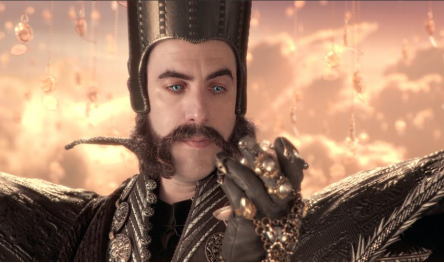 Sacha Baron Cohen plays a new character, Time. He's a bright spot in this otherwise underwhelming sequel to Alice in Wonderland.
