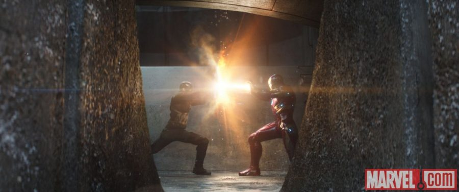 Captain American and Iron Man go head to head in the final fight scene in Captain America: Civil War.