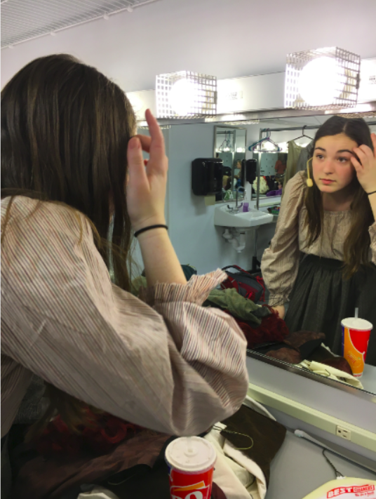Costume and makeup changes take place in the makeup and dressing rooms in between scenes.
