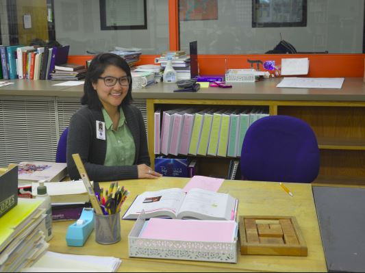 US mathematics teacher Beatrice White sits at her desk in the math wing.