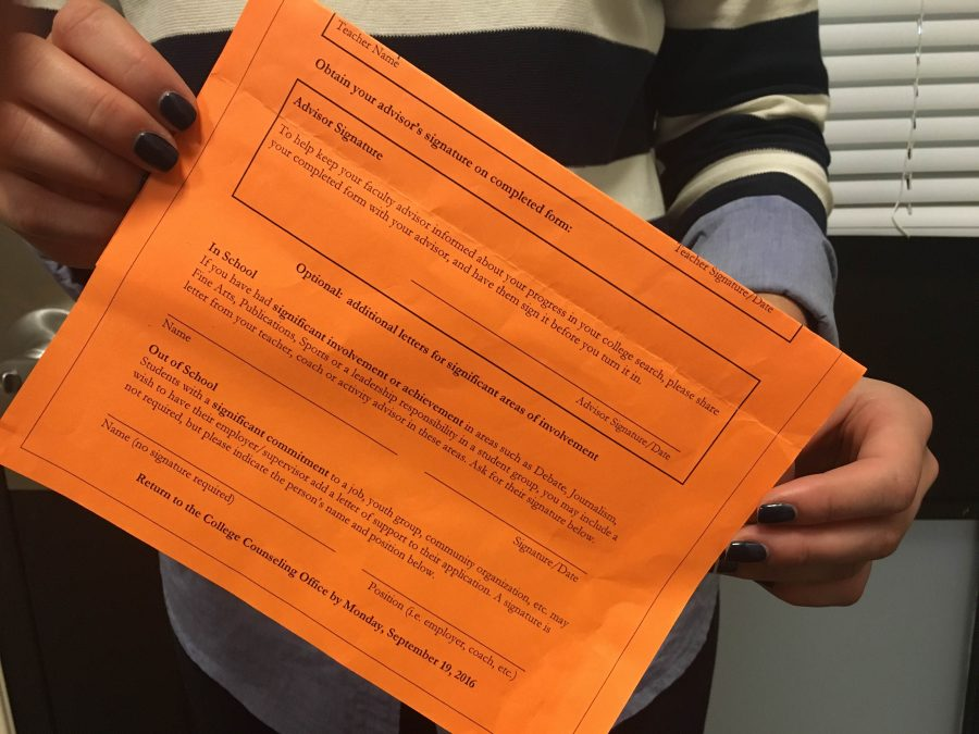 Student can get their orange reacher recommendation forms from their college counselor.