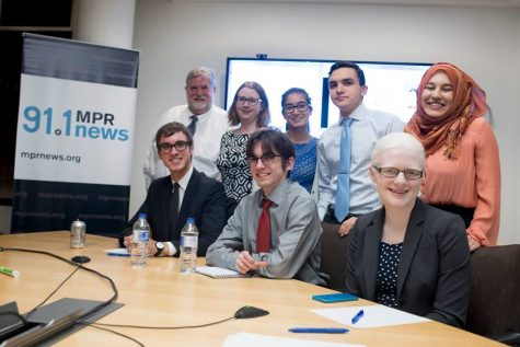 Senior debaters visit MPR studio to comment on first presidential debate night