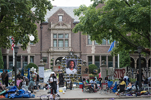 STANDING UP, SPEAKING OUT. Black Lives Matter supporters gathered around the Govenor's mansion on July 17 2016 as a demonstration in response to Philando Castile's death by a police officer.