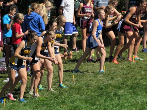 ON YOUR MARK, GET SET, GO! Juniors Val Hart, Greta Sirek, Emma Hills, Dianne Caravela line up just before taking off for their race.