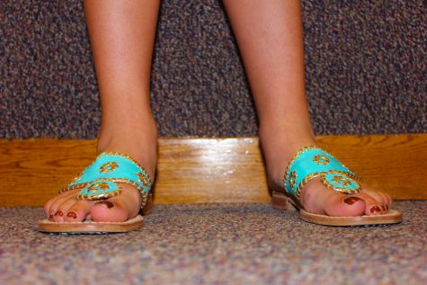 Senior Kathryn Schmechel's bright shoes warrant a close up.