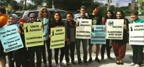 MSA members, teachers and other SPA students march and hold signs to protest  against Islamophobia.