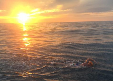 "Caellach Gibbons, class of 2012, completed the English Channel Swim in July. ""Sometimes I find myself marveling at the scope of the accomplishment, but more often that not I just think about how crazy I was to think I could do it,"" she said."