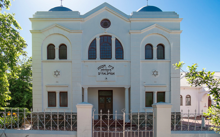 Outside a synagogue in South Africa.