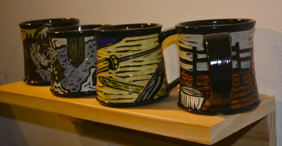 Embellished mugs by artist Lazarre Rottach.