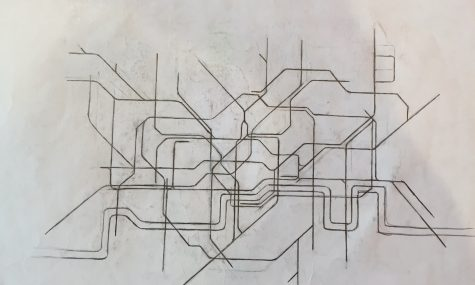 "Sophomore Max Moen's skills in map memorization allow him to doodle pictures like these in his notebooks. This is a sketch of London. ""I'm a very clean cut person. I liked the cleanliness and orderliness of maps I can draw,"" Moen said."