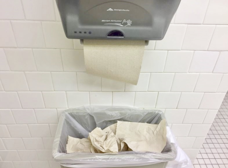The use of paper towels in the bathroom is noticeably excessive: they spill from garbage bins, sometimes falling onto the floor.