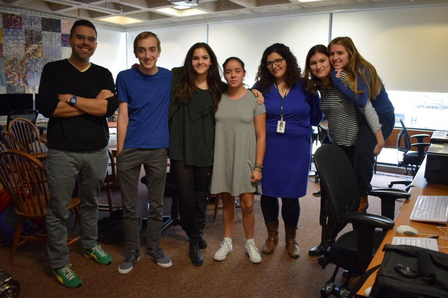 Members of the new affinity group for Latino students hold first meeting on Oct. 28. From left to right Advisor Max Delgado, Peter Kilborn, Hana Martinez, Eva Garcia, Advisor Molly Holguin, Isa Saaverda-Weis, Gabby Harmoning.