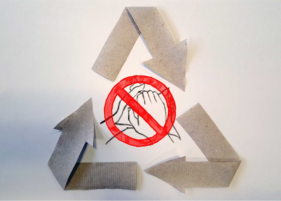 Paper towels are overused and cannot be recycled after cleaning dirty hands. The towels used in the illustration above were recycled since they were not used for cleaning.