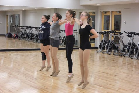 "In the first year of co-op dancing with Minnehaha Academy, 9th grader Annika Findlay (front) sees the change as a positive: ""I think we've made a lot of really good new friends just in the first couple of weeks. There aren't very many of us, but we're pretty close,"" Findlay said."