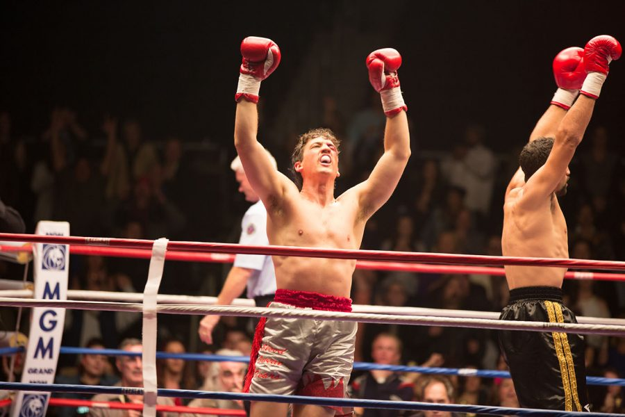 Vinny Pazienza (Miles Teller) pumps his fist in the air before a fight at MGM Grand Arena in Las Vegas, Nevada in 1994.