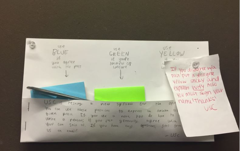 USC%27s+color+coded+post-it+responses+for+the+Opinion+board+provide+a+new+way+for+students+to+contribute.+