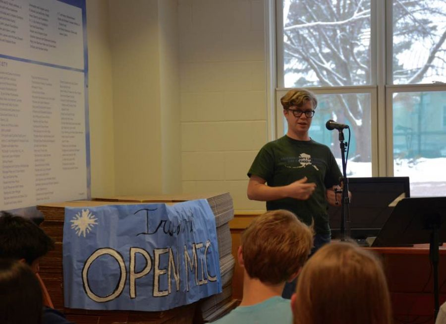The second Iris: Art and Literature open mic took place Jan. 25 in the Davern lobby. Junior Tucker Waltenbaugh performed stand up comedy.