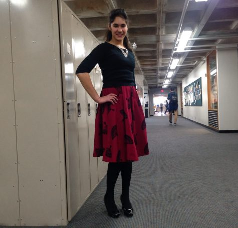 Junior Naya Tadavarthy shows off her full, knee length circle skirt in a rich burgundy shade. The skirt is from Tatyana, vintage clothing brand inspired by the fashion of the 1940s-50s.