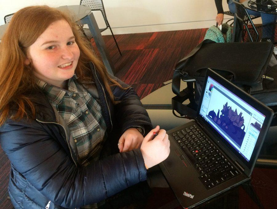 """Sophomore Nora Turner animates her drawings on her computer. """"I haven't had any official art classes except for one drawing class last semester. To practice, I draw all time in my notebooks, sketchbooks, and on the computer,"""" Turner said."""