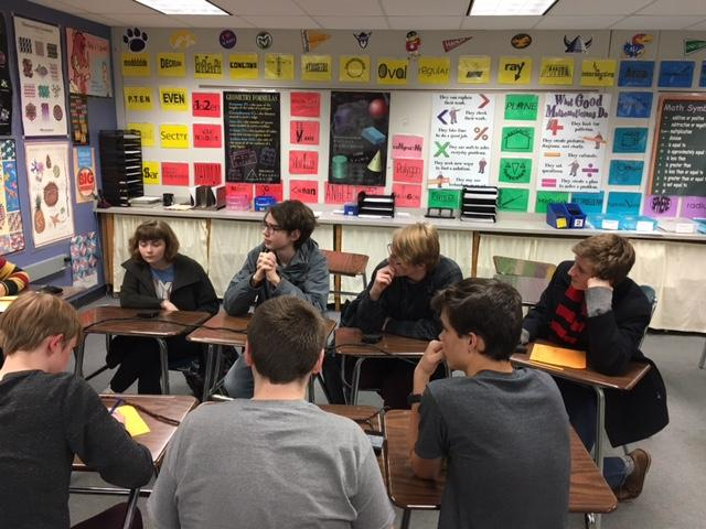 Quiz Bowl team A works through a round at the tournament Jan. 19.  They went 4-0 to win and qualified for the playoffs Mar. 3.