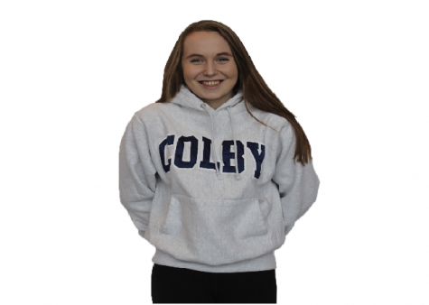 Senior Nora Kempainen wears her Colby sweatshirt after being accepted through Early Decision