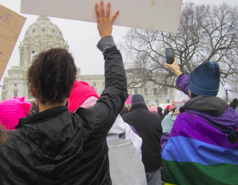 """Members of HerSpace, a female identifying affinity group at SPA, marched in Saint Paul on Jan. 21. Senior Meley Akpa, who attended the march with friends, described the emotions of the event as being high, as """"everyone in the crowd seemed to be really excited to be there."""""""