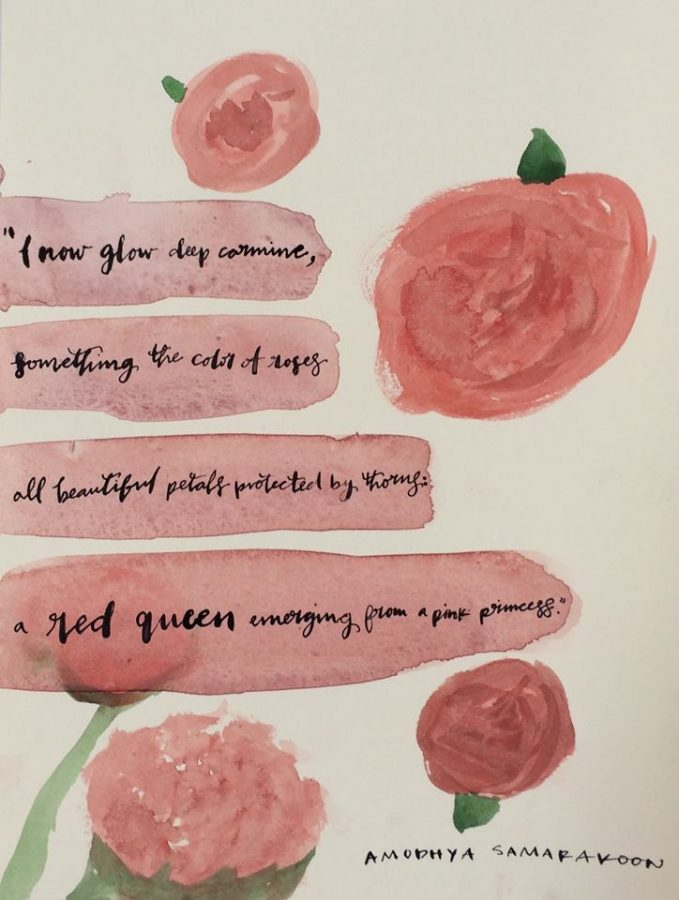 I now glow deep carmine something the color of roses all beautiful petals protected by thorns: a red queen emerging from a pink princess, senior Amodhya Samarakoon said during her speech on Feb. 2.