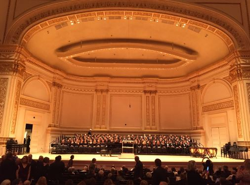 The SPA Choir and members of Community Chorale prepare to perform at Carnegie Hall on Feb. 18.