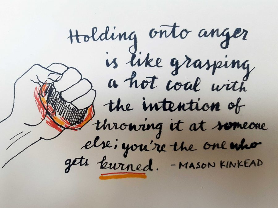 Holding onto anger is like grasping a hot coal with the intention of throwing it at someone else - youre the one that gets burned, senior Mason Kinkead said during his senior speech.
