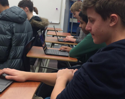 Ninth grader and Splix.io champion Josh Meitz competes with fellow classmates during x period in the Splix.io tournament, hosted by the IT club