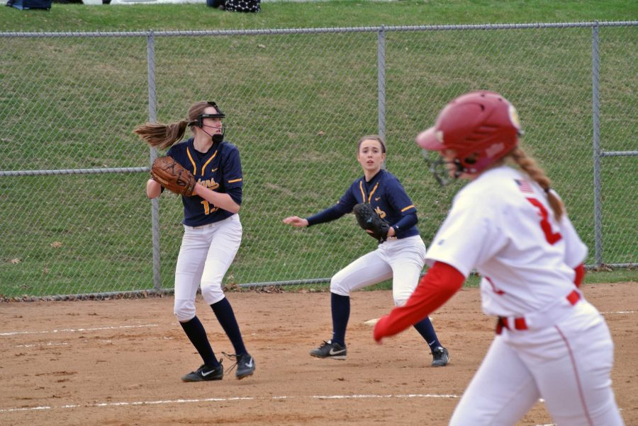 Kathleen Bishop catches and prepares to throw the softball