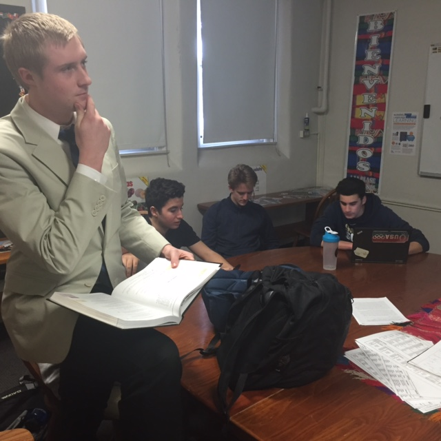 In Sr. Castellanos spanish class, Jesper is seen paying very close attention to detail