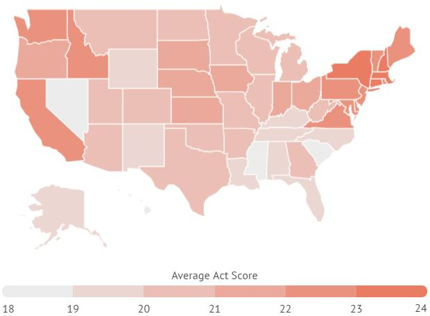 The average ACT scores for each state.