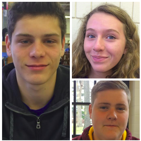 Sophomores Eric Lagos (left), Muriel Lang (top right), and Riley Tietel (bottom right) all react to SPA's portable classrooms at the start of the fourth quarter.